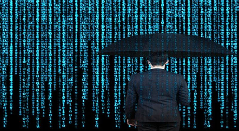 businessman with umbrella  who is appeared through the matrix background
